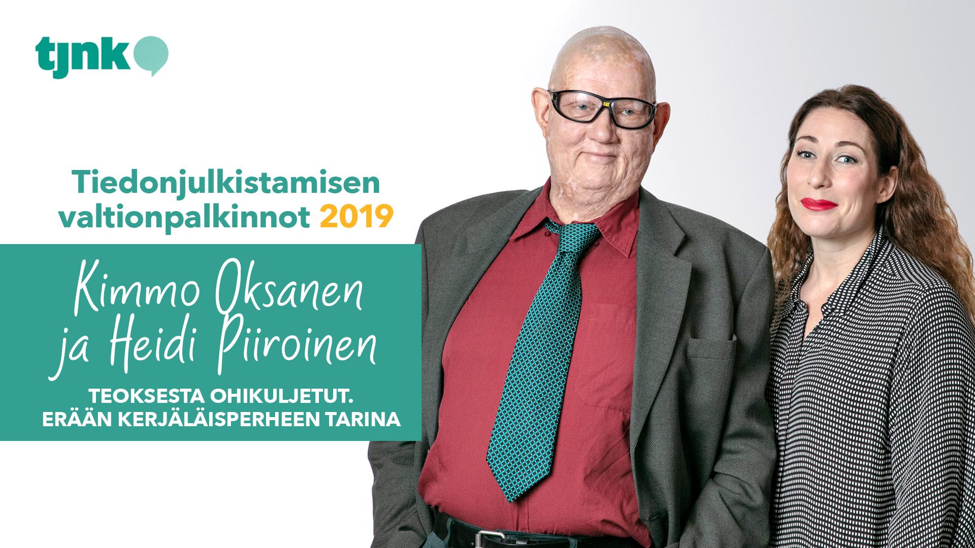 Tiedonjulkistamisen valtionpalkinnon 2019 saaneet Kimmmo Oksanen ja Heidi Piiroinen.